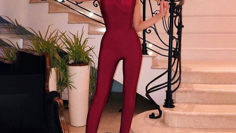 Chic Burgundy Jumpsuit Sexy V Neck Backless Party Club Bandage Women Jumpsuit