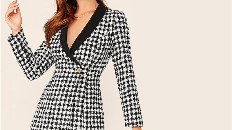 Plaid Blazer/Tweed Dress Autumn Single Button Slim Fit Elegant Long Blazer