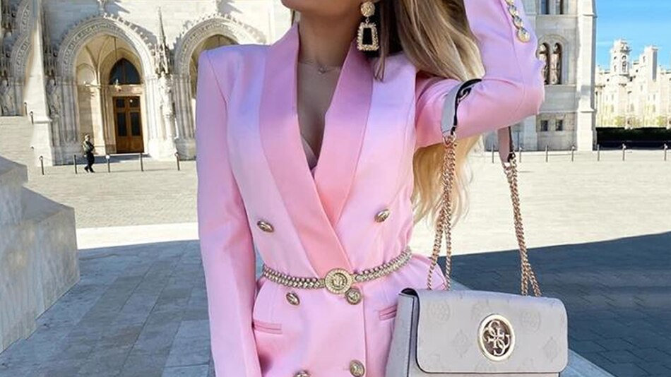 Spring Autumn Blazer Women Pink Sexy Long Sleeve Double-Breasted Slim Coat