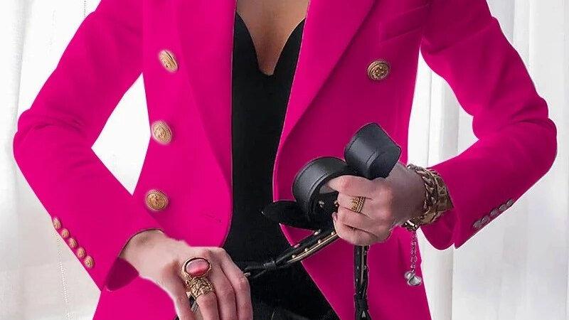 S-XXXL Ladies Fuchsia Office Blazer Double Breasted Autumn Winter
