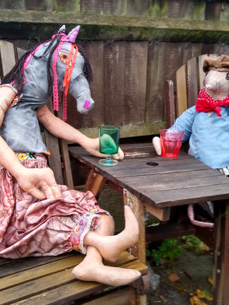 Horse and Ratty in the Garden