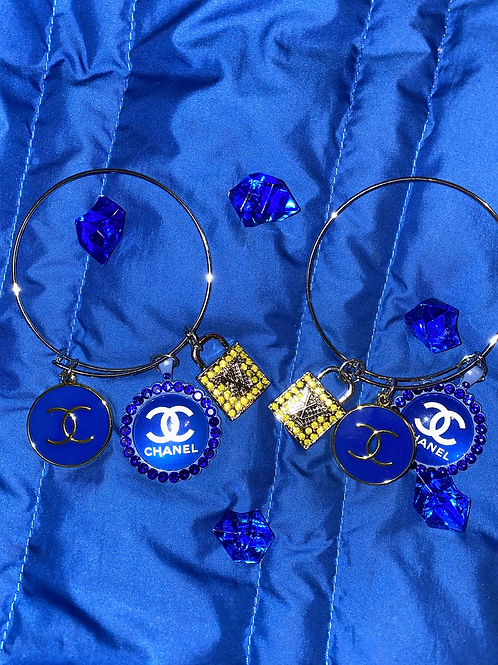 """Blue& Yellow Bangle Charms"""