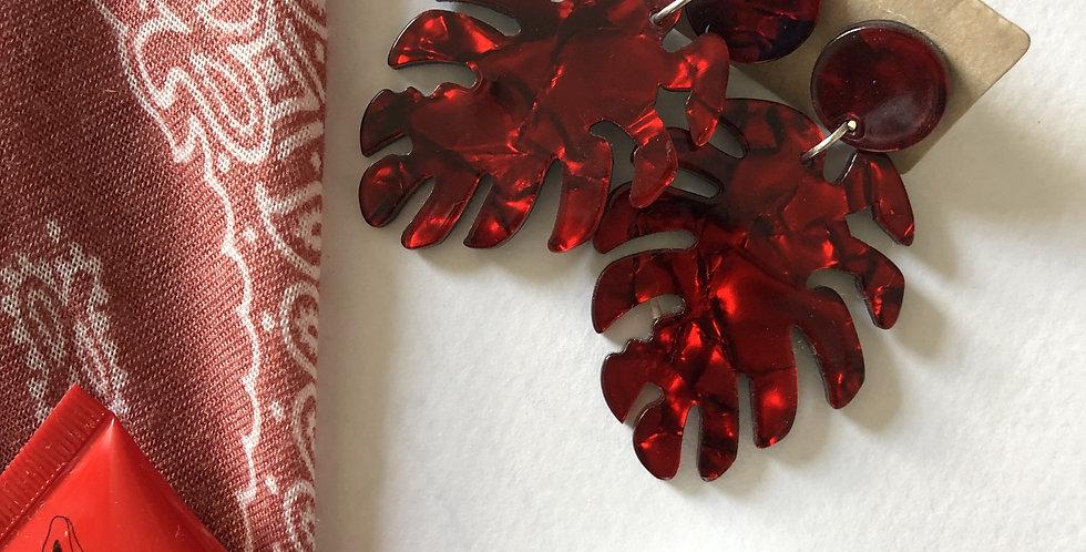 Red Monstera Earrings