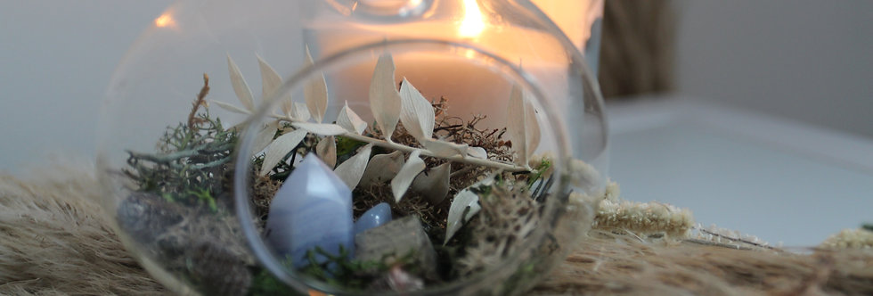 Crystal Terrarium Bauble: Blue Lace Agate + Pyrite