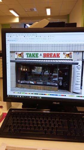 Take a Break cafe, design av skylt