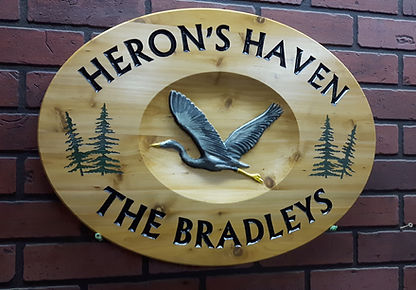 Wooden Signs With Heron