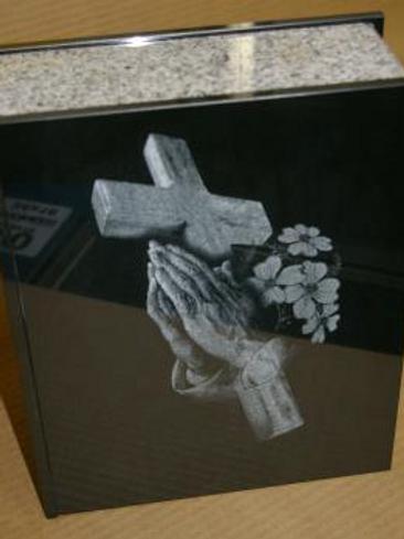 Granite Urn with Praying Hands etching