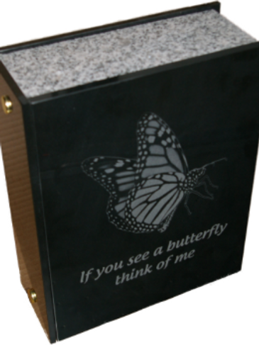 Granite Urn With Butterfly engraving
