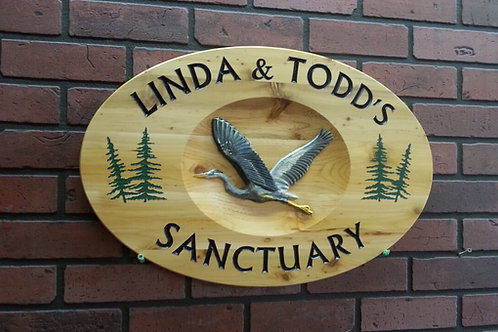 Custom Carved Wooden Sign with Heron