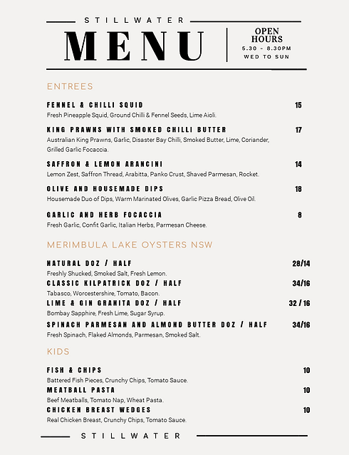 Classic Menu Layout with Tabled Heading