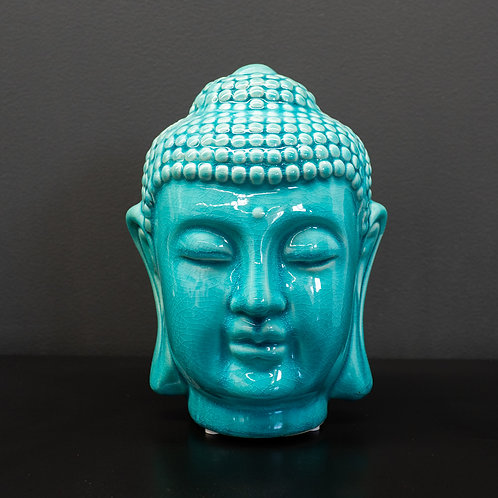 Turquoise crackle-glazed Buddha Head