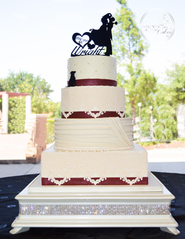 Square and Round Wedding Cake with Edible Lace, Shirred Fondant