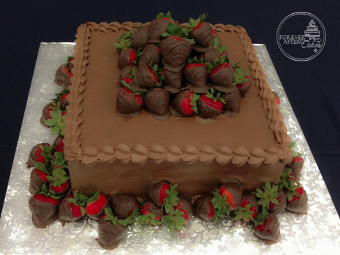 Square Chocolate Covered Strawberry Groom's Cake