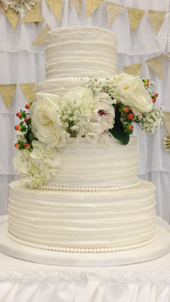 Round Wedding Cake with Textured Butercream Ruffle and Floral Spray, country, shabby chic