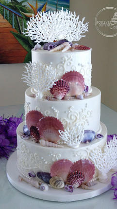 Beach Wedding Cake with Hand Piped Coral and Seashells