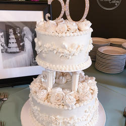 Vintage 50th Wedding Anniversary Cake With Piped Buttercream Flowers Pillars