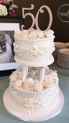 Vintage 50th Wedding Anniversary Cake with Piped Buttercream Flowers