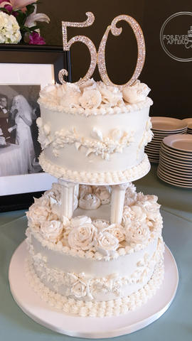 Vintage 50th Wedding Anniversary Cake with Piped Buttercream Flowers, pillars