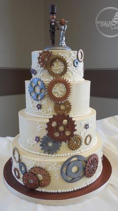 Round Steampunk Wedding Cake