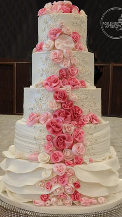 Round Wedding Cake with Rolled Fondant Roses, Ruffles and Piped Embroidery Inspired by the Wedding Gown