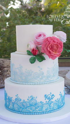 Wedding cake with wafer paper flowers an