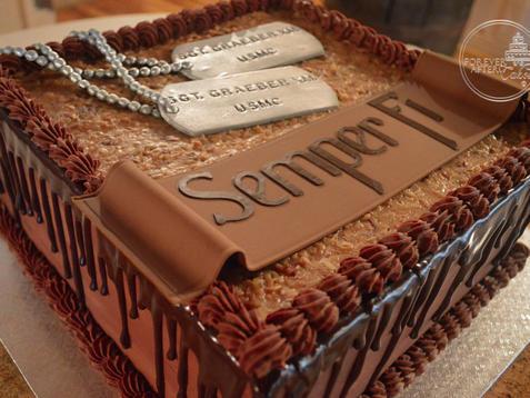 German Chocolate Semper Fi Groom's Cake with Dog Tags