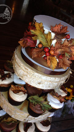 Top Tier for Fall Leaf Wedding Cupcakes