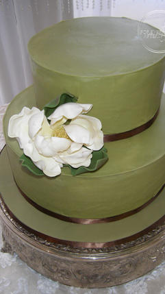 Sage Green Wedding Cake with Handmade Magnolia Flower