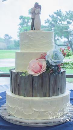 3 Shabby Chic wedding cake with barnwood