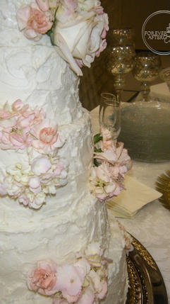 Shabby Chic Wedding Cake with Rustic Texture and  Scattered Flowers