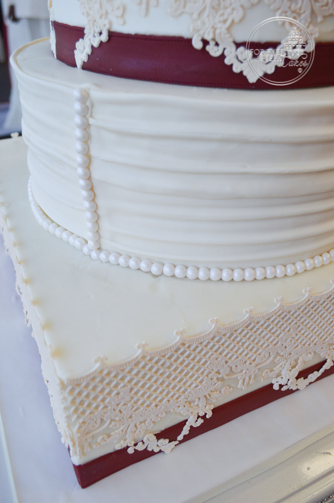 Square and Round Wedding Cake with Edible Lace, Shirred Fondant ...