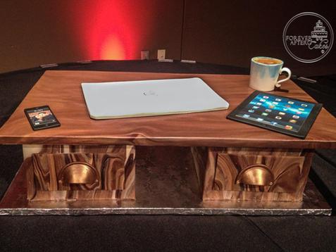 Desk and iPad Groom's Cake