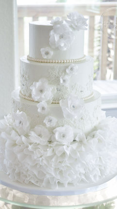 Wedding Cake with Wafer Paper Ruffles Flowers, Hand Piped Lace and Edible Sparkle