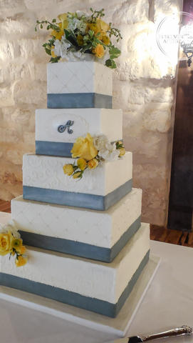 Square Grey and Yellow Wedding Cake with Quilting, Scrollwork and Monogram