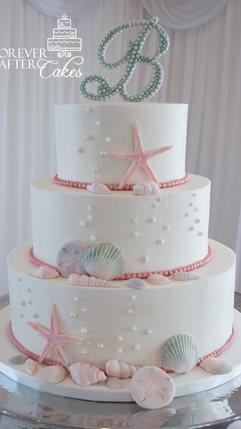 5 Beach themed wedding cake with edibe s