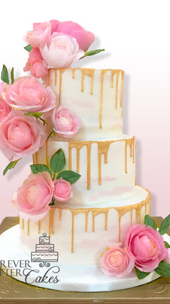 15 Gold drip wedding cake with wafer pap