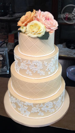 Champagne Wedding Cake with White Buttercream Lace