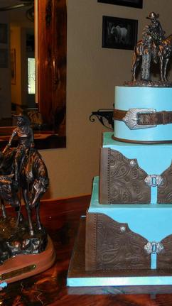 Square Tooled Leather Wedding Cake
