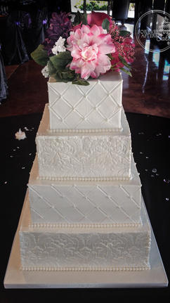 Square Wedding Cake with Quilting and Damask Stencil