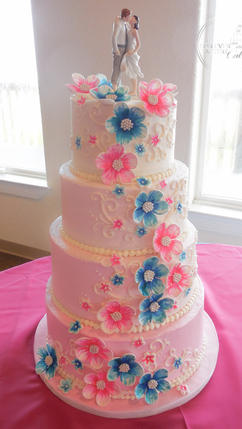 Pink Ombre Wedding Cake with Aqua and Pink Fondant Flowers and Piped Scrolls