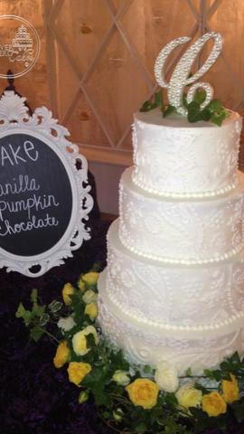 Round, White Wedding Cake with Henna or Bandanna Inspired Design