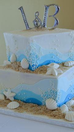 Square Beach Wedding Cake with Chocolate Shells