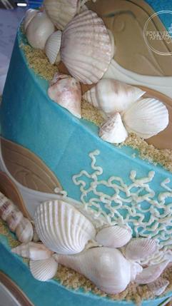 Beach Wedding Cake with Edible Seashells