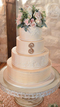 Rustic and Elegant Wedding Cake with Lace and Gold Monogram