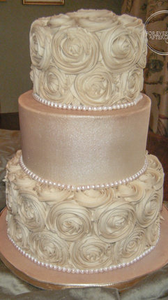 Bronze Wedding Cake with Swirl Buttercream Roses