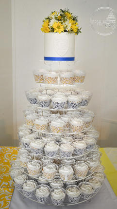 Blue and Yellow Wedding Cupcakes for a Policeman and his Bride