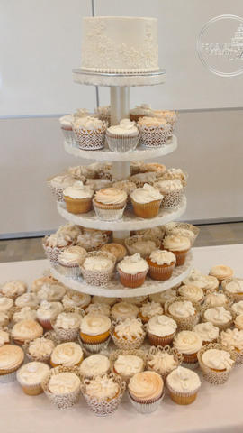 Wedding Cupcakes in Assorted Styles with Lace Top Tier