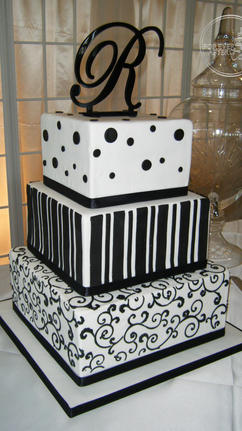 Square Fondant and Buttercream Wedding Cake with Black Stripes, Dots and Swirls