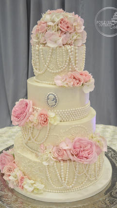 Round Buttercream Wedding Cake with Edible Cameo, Pearls and Buttercream Lace