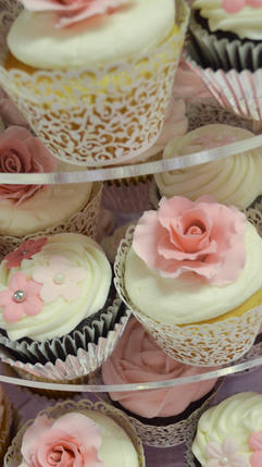 Wedding Cupcakes with Edible Roses, Flowers, Ruffles and Lots of Sparkle, Inspired by the Wedding Gown